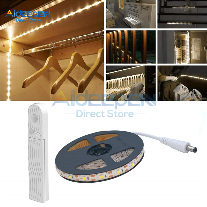 1M 2M 3M Wireless Motion Sensor LED Strip Night Light Battery Powered Bed Lamp For Closet Wardrobe Cabinet Stairs TV Lighting