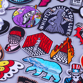 Punk Patches For Clothing T-Shirt Grim Reaper Patch Thermal Stickers Jacket Stripes Embroidery Patch Twin Peaks Badge On Clothes punk patch diy embroidery patches for clothing stickers badge hippie rock patch for t shirt applique iron on patch on clothes