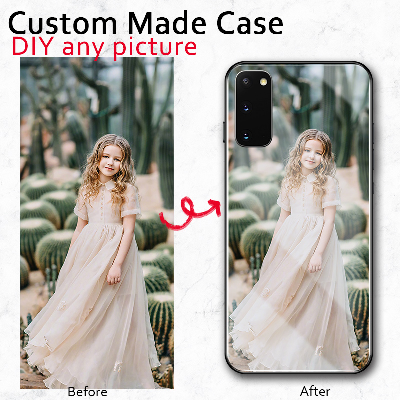 DIY gift <font><b>glass</b></font> Case For <font><b>Samsung</b></font> A20 A30 A50 A70 <font><b>A7</b></font> 2018 A8 plus 2018 s20 plus S20 ultra Custom made Print Photo logo name case image