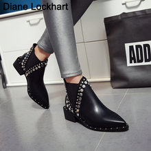 Ботинки из искусственной кожи с заклепками черные женские ботинки
