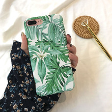 Leaf pattern Case for iPhone 8 8Plus X XR XSMAX 6 6s plus 7 7Plus Hard PC side cover frosted touch 360 protective