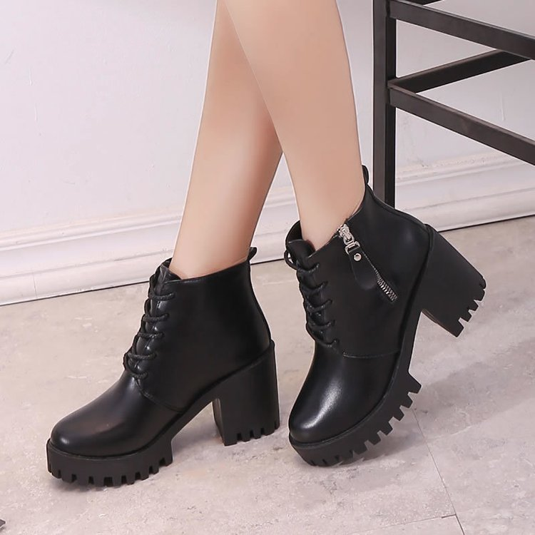 Boots Ladies Vintage Combat Autumn Boots Army Punk Goth Women Boots Women Biker PU Leather Short Boots Dfv4