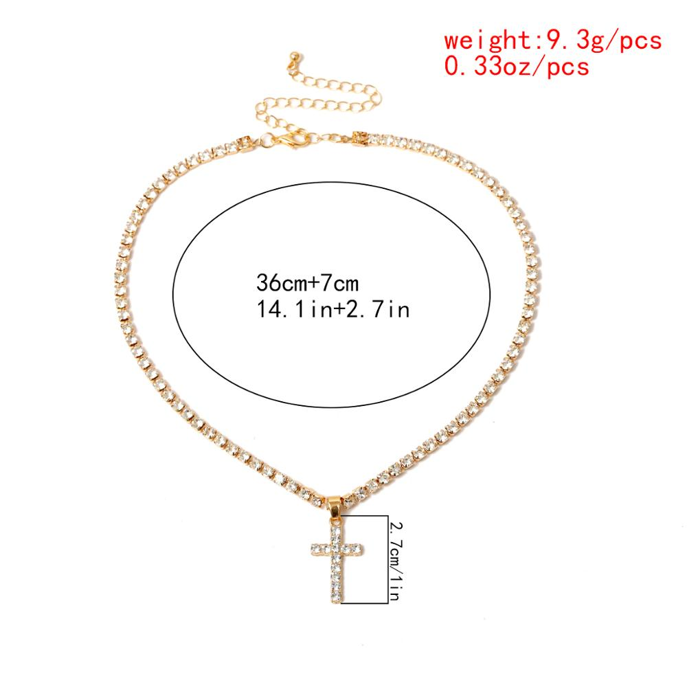 High Quality Crystal Cross Pendant Choker Necklace Jesus Vintage Rhinestone Link Chain Necklaces Charm Christian Couple Jewelry
