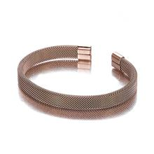 Top Sale Rose Gold Stainless Steel Charm Men Women Couple Jewelry Unique Wire Cuff Open Braided Male Bracelets bell cuff rose print mesh top
