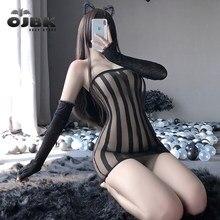 OJBK – combinaison fourreau en résille Sexy pour femmes, Lingerie érotique à gros fesses, entrejambe ouvert, extensible, bas en maille, Design à rayures, 2020