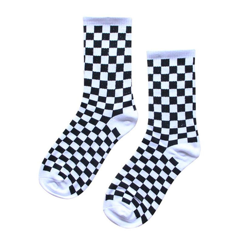 Korea Harajuku Trend Women Checkerboard Socks Geometric Checkered Socks Men Hip Hop Cotton Unisex Streetwear Novelty Socks
