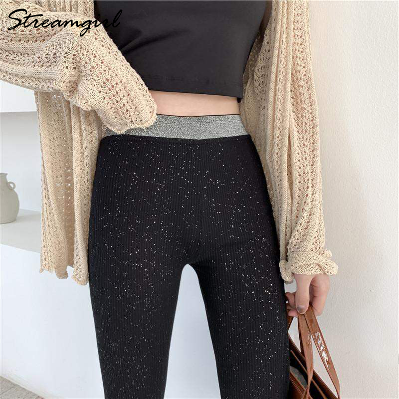 Spring Black Shiny Leggings Women High Waist Leggins Womens Capri Elastic Waist Casual Tight Leggings For Women Skinny Pants
