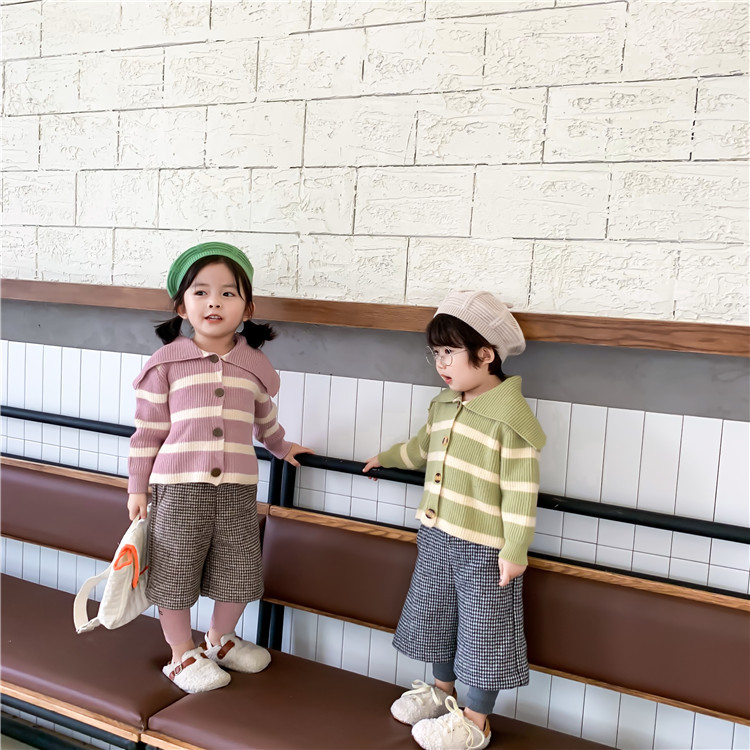 Left Prince Childrenswear 2019 Autumn And Winter New Style Korean-style Girls Large Lapel Stripes Sweater Children Avocado Cardi