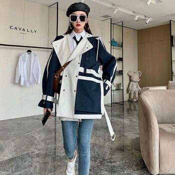 [EWQ]Long Sleeve Jacket Stitching Design Autumn Queen Casual Clothing 2021 Autumn Coats Korea 1 Overcoat Outerwear Women 1