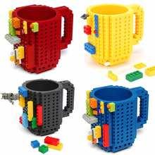 Taza de café de bloques de construcción, taza con diseño de rompecabezas de bloques DIY de tazas de café de 12 onzas, con piezas, tipo de bloques de construcción, 11 colores, 1 ud.
