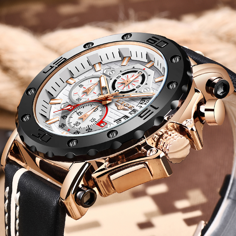 2020 LIGE New Fashion Mens Watches Top Brand Luxury Big Dial Military Quartz Watch Male Leather Sport Watch For Men reloj hombre(China)