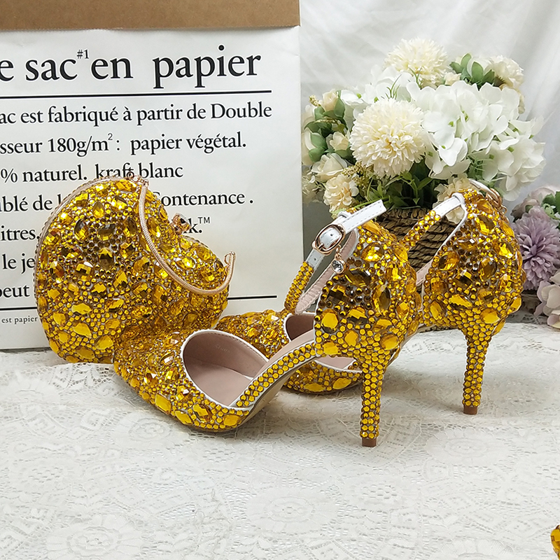 BaoYaFang Golden Crystal wedding shoes and bags set Ladies Party shoes Fashion dress shoes with matching bags ankle strap