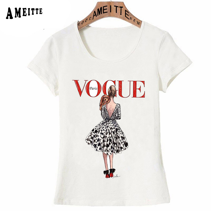 Vintage Vogue Paris Black printing Girl Shirt Summer Fashion T Shirt novelty casual Tops 11