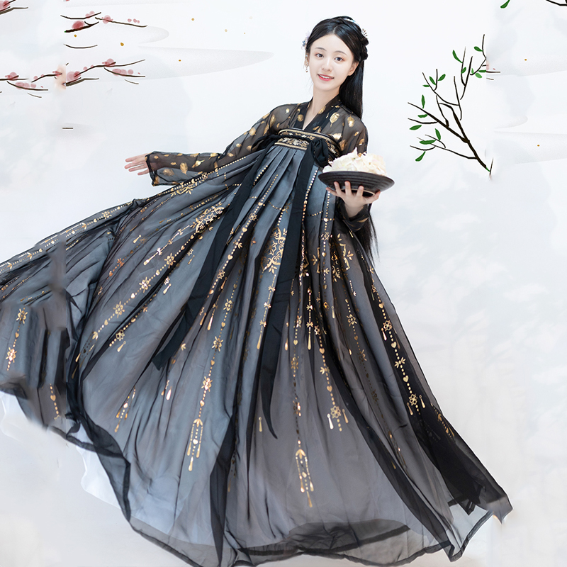 Hanfu Black Fairy Clothing Suit Gold Sequin Coat Chinese Dance Costume China Festival Outfit Performance Stage Dress Hanfu 3271