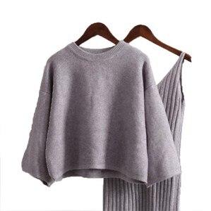 Image 5 - LANMREM sweter kobieta sweter z długim rękawem sweter damski dzianinowy Top + wysoka talia dzianina Sling 2020 jesienno zimowa nowy kolor QK368