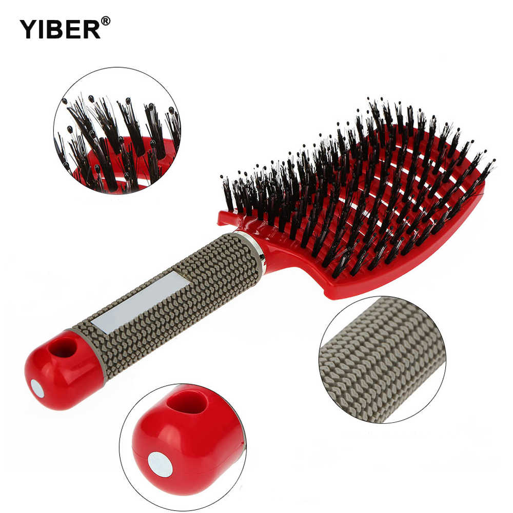 Massage Comb Bristle  Nylon Hairbrush Scalp Massage Comb Curly Detangle Hair Brush Shower Massage Comb Hairdressing Salon Tool