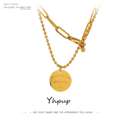 Yhpup Charm Layered Round Pendant Stainless Steel Necklace подвеска Jewelry for Women High Quality Chain Choker Collier New
