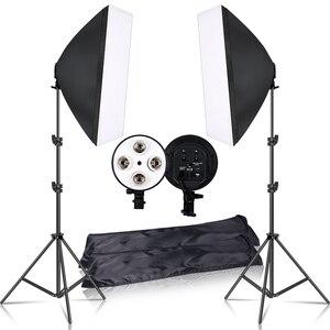 Image 1 - צילום 50x70CM תאורה ארבעה מנורת Softbox ערכת עם E27 בסיס מחזיק רך תיבת מצלמה אבזרים לצילום סטודיו Vedio