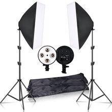 Photographie 50x70CM éclairage quatre lampe Softbox Kit avec support de Base E27 boîte souple caméra accessoires pour Studio Photo vidéo