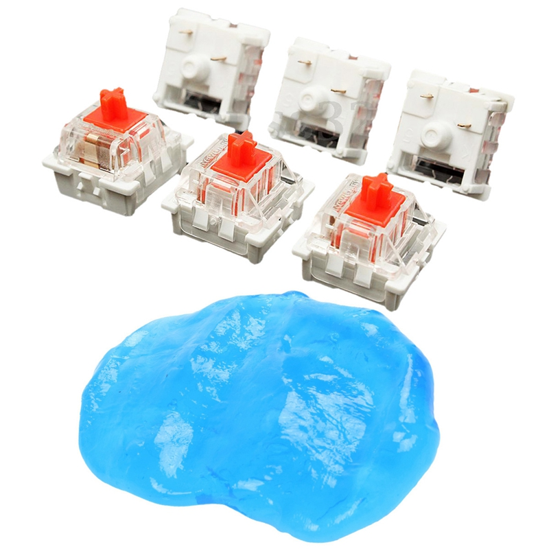 10Pcs Plastic For Cherry Red 3 Pin MX RGB Mechanical Switch Keyboard Replacement & 1Pcs Magic Cleaning Gel Putty Car Keyboard Co
