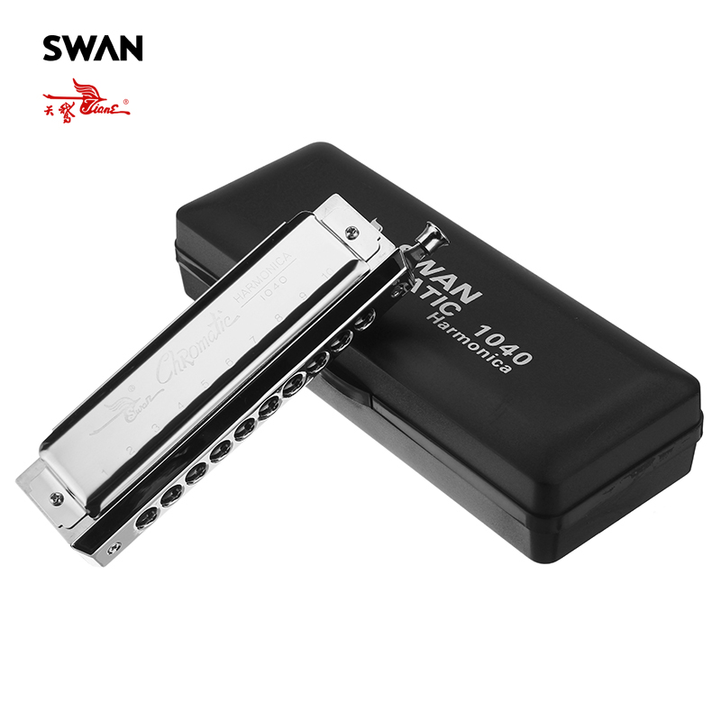 Swan SW1040 5 Rounded Mouthpiece 10 Holes 40 Tones Chromatic Harmonica Switchable Woodwind Musical Instrument Swan Harmonica chromatic harmonica swan harmonicaharmonica chromatic - title=