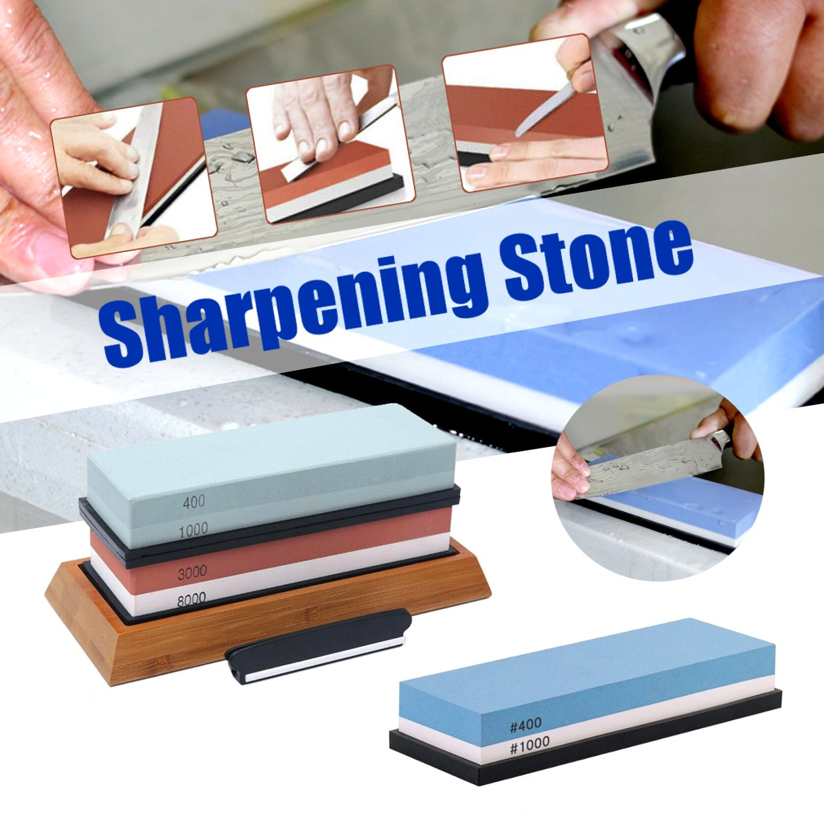 <font><b>3000</b></font>/<font><b>8000</b></font> / 400/1000 <font><b>Grit</b></font> Professional Knife Sharpener Sharpening Stone For A Knife Stone Whetstone Honing Oilstone Water Stones image