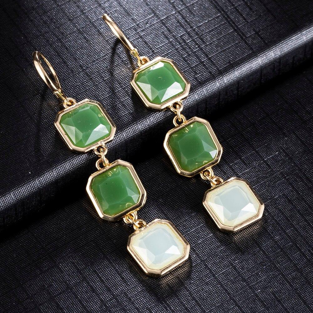 Green Long Earrings For Women Earings Fashion Jewelry 2020 Accessories Gem Gold Big Earrings Bohemian Earrings Boho Earrings