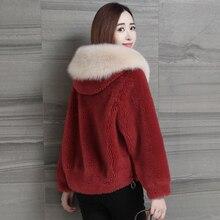 Women Faux Fur Jacket Winter 2019 Fashion All-match Warm Thicken Fox Collar Hooded Lamb Coat Short Overcoat Female