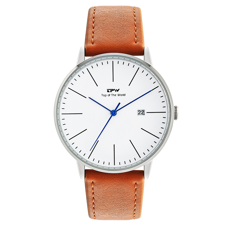 luxury mens watch with calender 3 atm water resistant japan movement 3 year battery life leather men's watch quartz movement