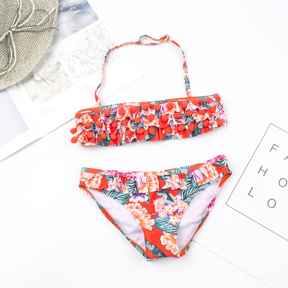 2-8 Girls Swimwear Print Girls Swimsuit Kids Girls Beach Wear Bathing Suit Girls Bikini Set 2019 Biquini Infantil Menina 156