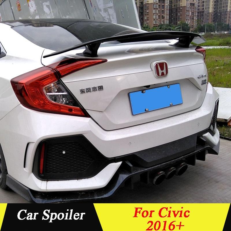For 2016-2018 Honda Civic 4Dr T-R Style Rear Trunk Black Spoiler Wing Body Kit