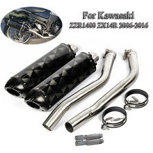 Slip On ZZR1400 Motorcycle Exhaust System Pipe Muffler Exhaust Mid Connect Link Tail Pipe For Kawasaki ZX14R 2006-16 Moto Escape motorcycle exhaust full system for aprilia rsv4 motorbike slip on exhaust muffler escape damper mid link pipe sticker available