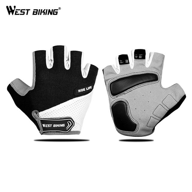 Luvas sem dedos para ciclismo WEST BIKING, luvas esportivas respiráveis antiderrapante para MTB, road bike e motocicleta 1