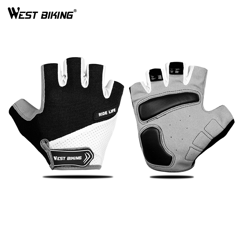 WEST BIKING Breathable Half Finger Cycling Gloves Anti Slip Pad Motorcycle MTB Road Bike Gloves Men Women Sports Bicycle Gloves