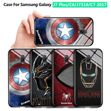 For Samsung Galaxy J7 Plus Case C8 J7310 C7 2017 Marvel Avengers Superhero Captain America Ironman Tempered Glass Cases Cover(China)