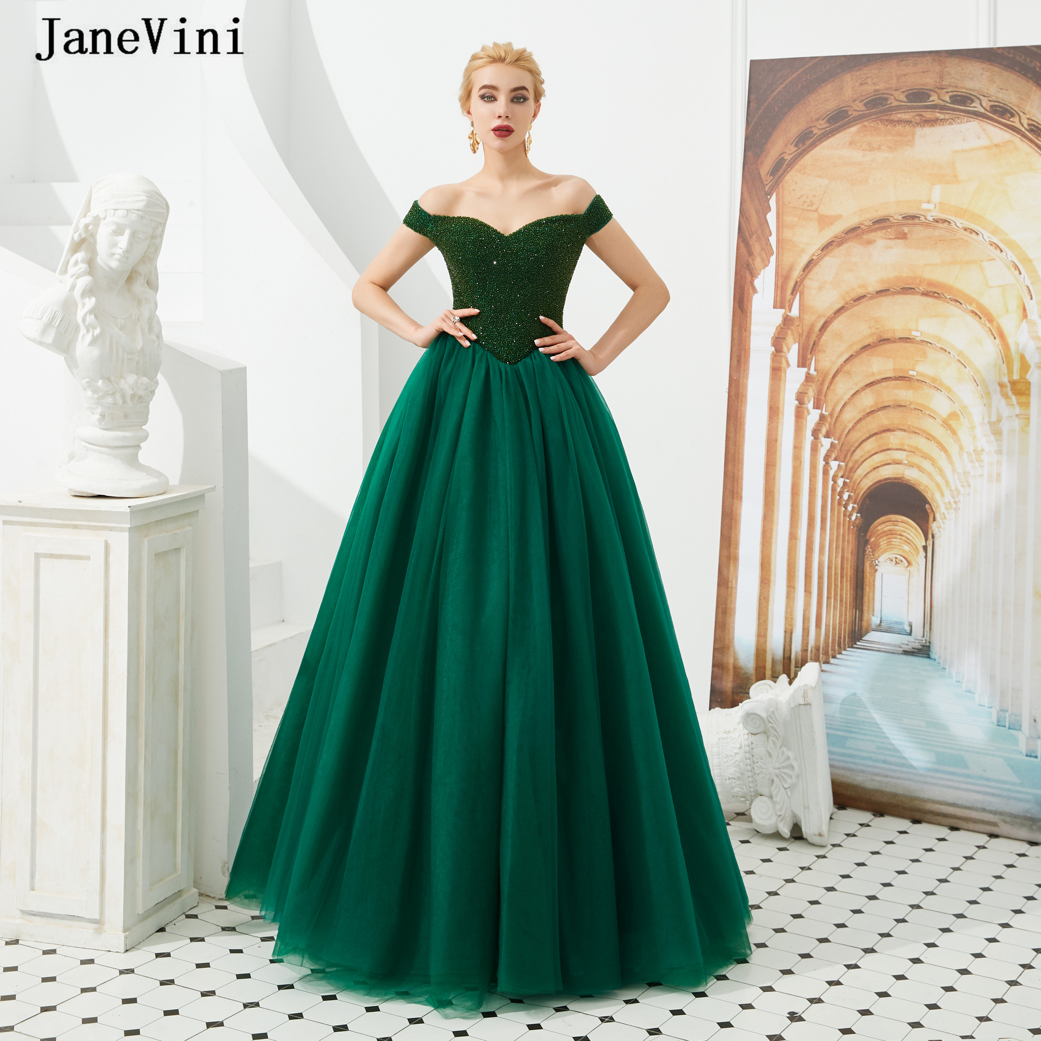 JaneVini Elegant Dark Green A Line Long   Prom     Dresses   Off Shoulder Sleeveless Puffy Tulle Luxury Beading Formal   Dress   Customize