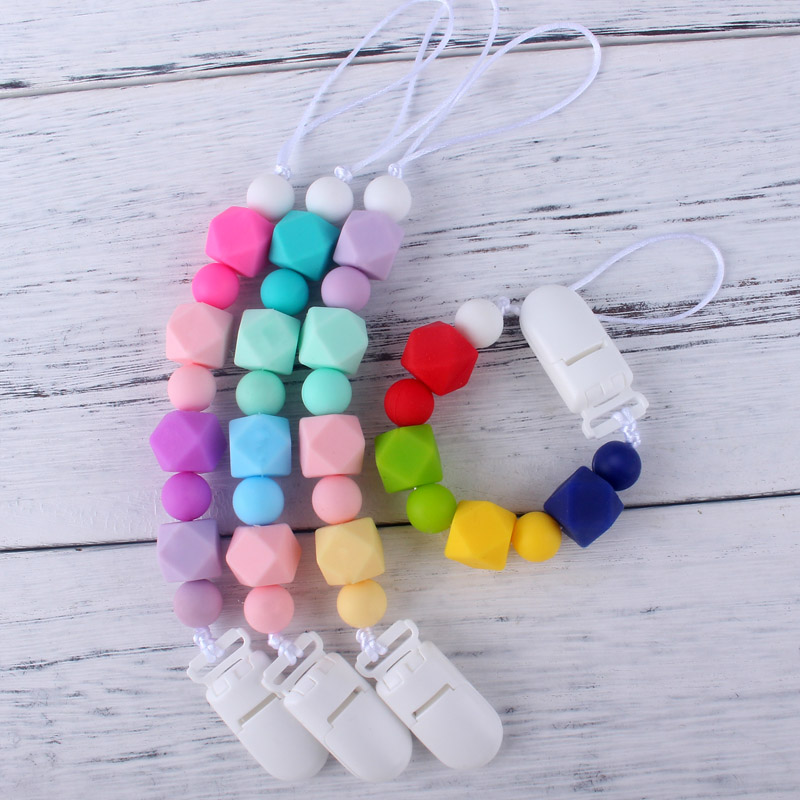 XCQGH Candy Colorful Food Grade Silicone Beads Pacifier Holder Clip For Infant Toddler Feeding Teething Strap