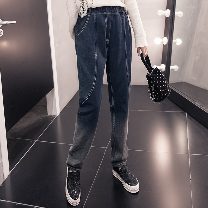 2018 Autumn And Winter Loose And Plus-sized WOMEN'S Dress Elastic Waist Jeans Harem Trousers