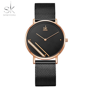 Image 2 - Shengke Montre Femme New Luxury Ladies Watch Fashion Simple Watches Womes Crystal Dial Quartz Watch Women Clock Relogio Feminino