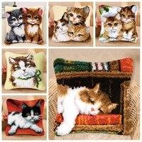 Smyrna sevimli kedi Kussen Kleed La Casa De mandalı kanca nakış halı mandalı kanca kitleri halı tuval yastık DIY yastık foamiran
