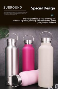 Gran capacidad de acero inoxidable botella de agua con aislamiento portátil calidad deportes aislado frasco de escalada al aire libre botella taza de