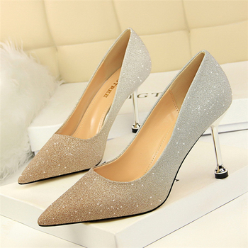Women's shoes women's fashion stiletto pointed color gradient high heel dance party high heels wedding bride high heels