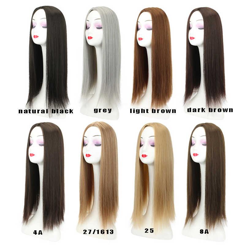 """Gres Synthetische Haar Topper 22 """"Lange Gerade Haar Verlängerung Clip In Hoher Temperatur Faser Frauen Toupet Mittelteil Haar stück"""