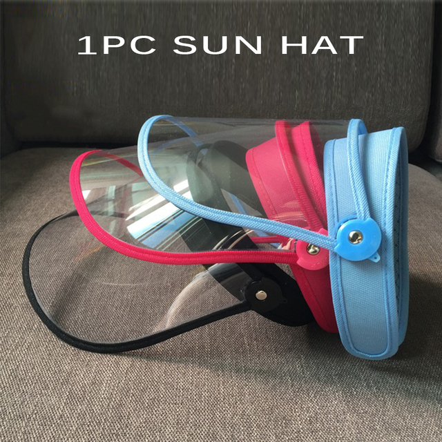 Summer Outdoor Sun Hat Men Women Saliva-proof Visor Caps Dustproof Empty Top PVC Face Shield Wide Brim Sports Sunhat Face Guard 1