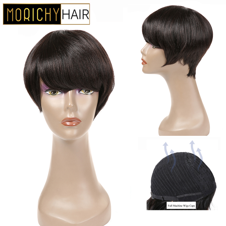 Morichy Natural Straight Short Cut Pixie Full Wig With Bangs Indian Non-remy Real Human Hair Glueless DIY Streaks Styles Female