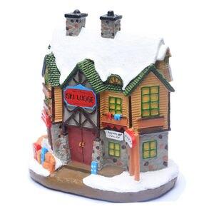 Image 2 - Casa di Villaggio di natale, Natale Inverno Sci Lodge Ornamento Illuminato Scena House