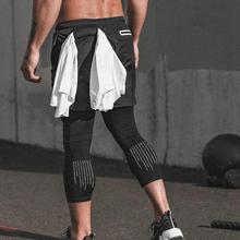 NEW Men's Running Shorts 2 in 1 Sport leggings Male double-layer Quick Dry Sports men Jogging Gym Shorts with Back Hanging