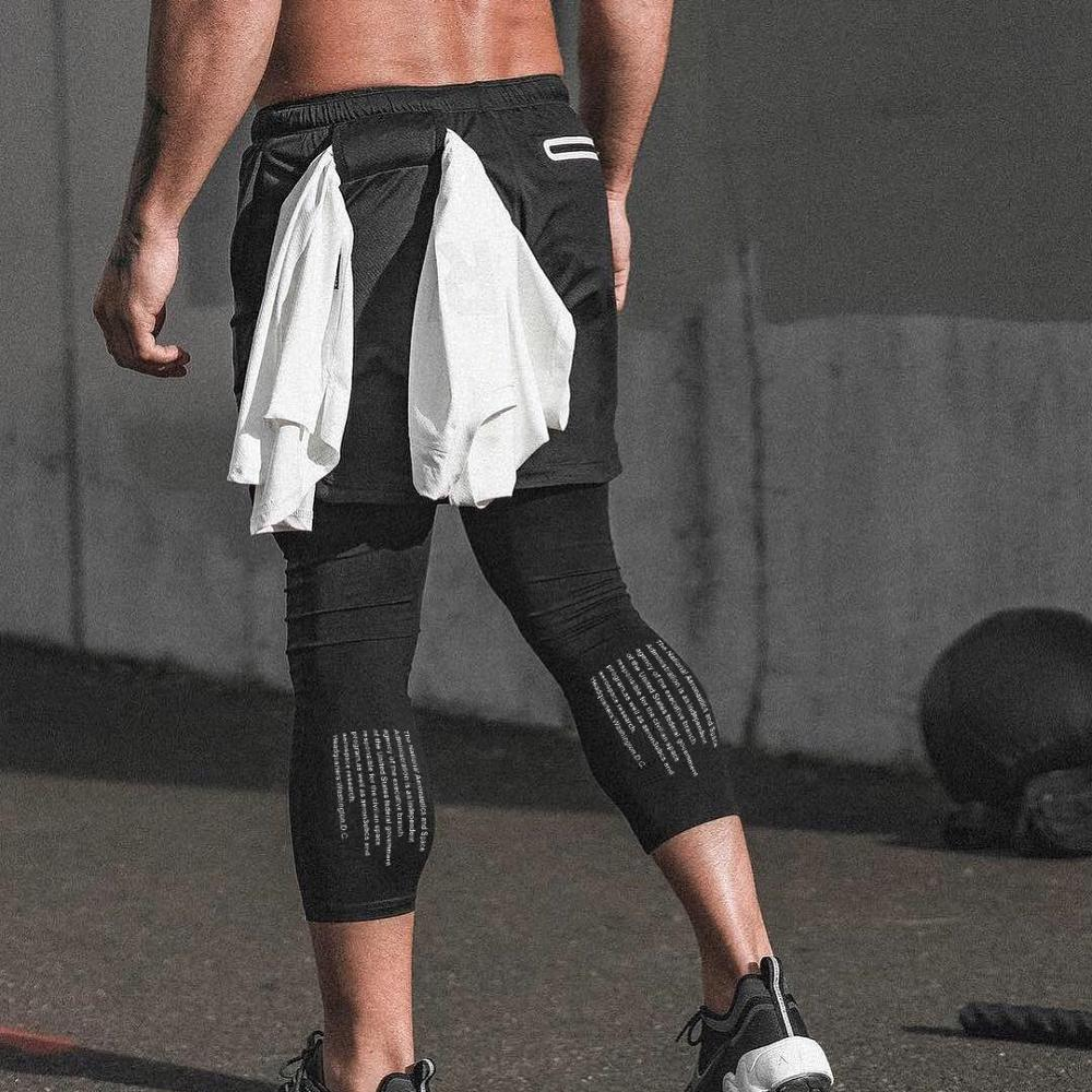 NEW <font><b>Men's</b></font> Running <font><b>Shorts</b></font> <font><b>2</b></font> <font><b>in</b></font> <font><b>1</b></font> Sport leggings Male double-layer Quick Dry Sports <font><b>men</b></font> Jogging Gym <font><b>Shorts</b></font> with Back Hanging image