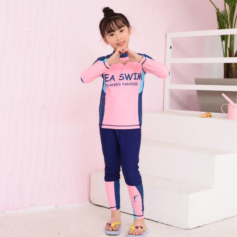 KID'S Swimwear GIRL'S Big Boy Teenager Split Type GIRL'S Swimming Trunks Set Students Long Sleeve Split Type Swimwear