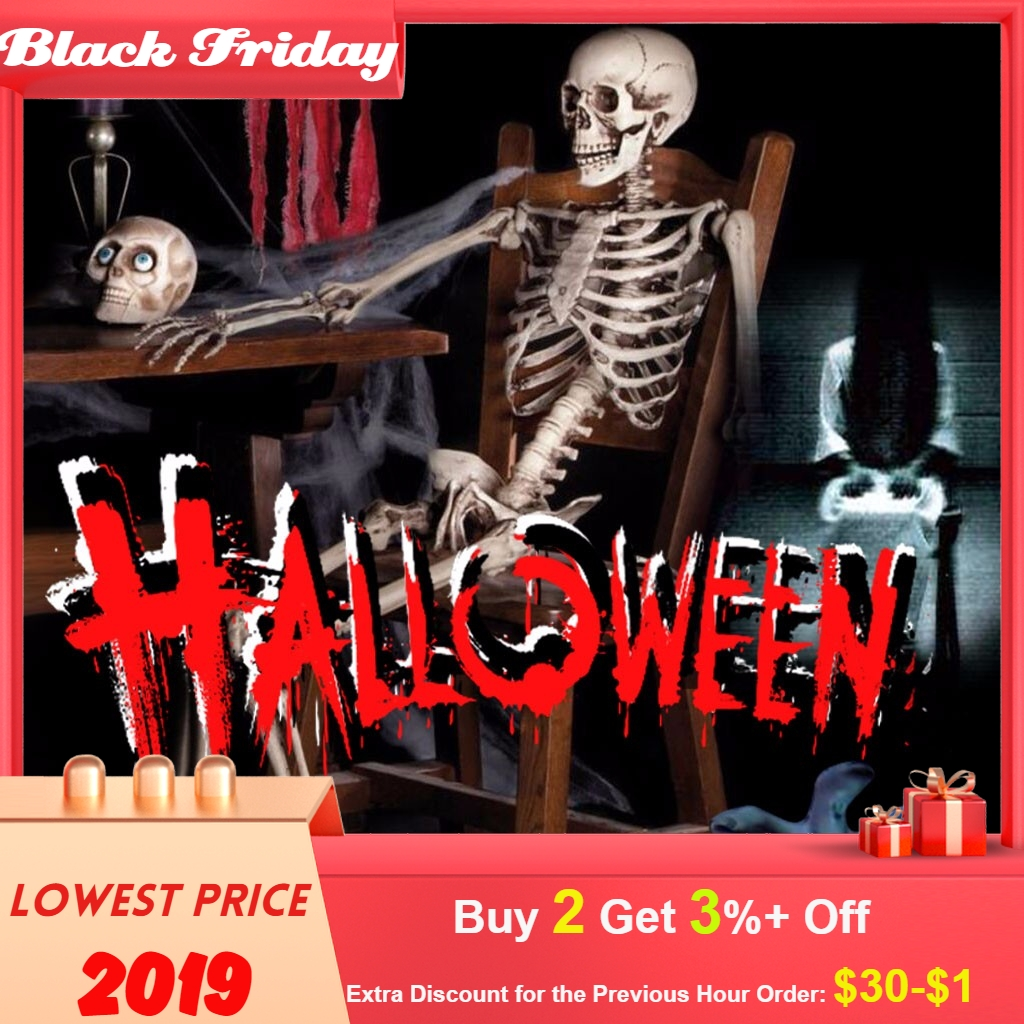 Halloween Party Decoration <font><b>Poseable</b></font> Full Size Human Skull <font><b>Skeleton</b></font> Anatomical image